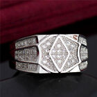 Hot Sale 1pc 18K White Gold Filled Cubic Zirconia Simple Latest Ring Size 9-11