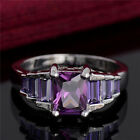 New Arrival Silver Purple Cubic Zirconia Female Fine Ring Size 7-9