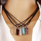 Gemstone Rock Natural Crystal Quartz Healing Point Chakra Stone Pendant Necklace