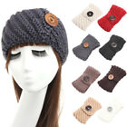 Girl Crochet Knitted Winter Ear Warmers Button Headband Turban Hairband Hairwrap