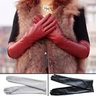 Women's Faux Leather BLACK Winter Long Gloves Warm Lined MSGG