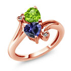 1.44 Ct Heart Shape Blue Iolite Green Peridot 18K Rose Gold Plated Silver Ring