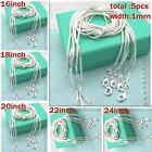"""Wholesale 5p 1mm Pure Solid Silver Snake Round Chain Necklace 16""""-24"""" Jewelry"""