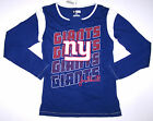 Nwt New York Giants ny Football NFL Top Shirt Tee Blue Glitter Logo Cute Women