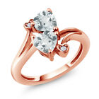 1.37 Ct Heart Shape Sky Blue Aquamarine 18K Rose Gold Plated Silver Ring