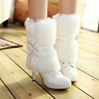 Fashion womens grace 2 ways ankle boots lace up fur furry bowknot US4-11 Pumps