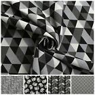 DOUBLE FACE BLACK & WHITE JACQUARD GEOMETRIC ANIMALS CURTAIN UPHOLSTERY FABRIC