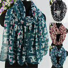 Women's Fashion Scarves All Over Cute Cartoon Cats Print Long/Infinity Scarf New