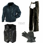 Mens Genuine Leather Motorcycle Biker Bomber Flight Jacket Chaps Gloves & Vest