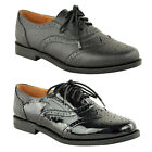 WOMENS LADIES SMART BROGUES LOAFERS SHOES PUMPS FORMAL SCHOOL OFFICE WORK SIZE