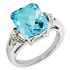 New .925  Sterling Silver Emerald Shape Blue Topaz & Diamond Ring - Choose Size