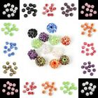 New 10Pcs Rhinestones Pave Clay Round Loose Disco Ball Spacer Beads For Bracelet