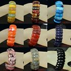 "Natural Multi-Color Aagate Crystal Jasper Gemstone Bracelets Stone 8""  10x25mm"