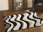 Modern Black Silver Grey Wool Viscose Large Thick Soft Rug Shine Effect Carved