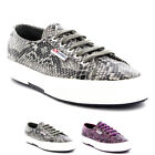 Womens Superga 2750 Cotsnakew Low Top Lace Up Casual Snake Skin Trainers UK 3-9