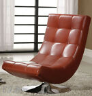 NEW TRINIDAD MODERN BLACK RED WHITE BYCAST LEATHER CHROME METAL ACCENT CHAIR