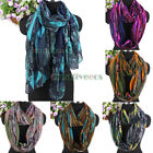 Women Fashion Scarves Feathers&Colorful Graffiti Pattern Long/Infinity Scarf New