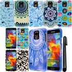 For Samsung Galaxy S5 G900 PATTERN HARD Protector Case Phone Cover + Pen