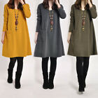 Womens Long Sleeve Long Blouse Top Shirt Loose Pocket Mini Sweater Dress Kaftan