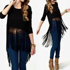 Womens Ladies Fringe Tassel Loose Tops T Shirt Casual Blouse Long Sleeve Jumper