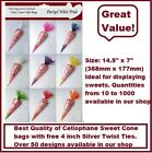Top Quality Cellophane Cone Bags/Party Bags/Sweets/Gifts With Ties