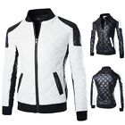 New Men's Sport Casual Fashion Slim Fit Motorcycle Pu Leather Jacket Coat Bomber