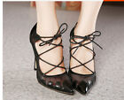 Womens Fashion Sexy Lace Up Mesh Hollow Stiletto Pointy Toe Pumps Party Shoes