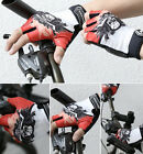 Cycling Bike Comfortable Lycra Bicycle GEL Palm Pad Half Finger Glove Red Skull