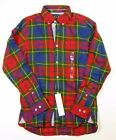 Tommy Hilfiger Men's Red Multi Plaid Button Front Custom Fit Causal Shirt