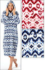 New Aztec Print Super Soft Fleece Hooded Robe/Nightdress Size 10-12 14-16 18-20