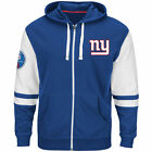 NEW Mens MAJESTIC New York NY Giants 1925 Big Blue NFL Royal Blue Zip Up Hoodie
