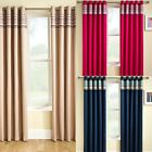 SIESTA THERMAL BLOCKOUT LINED EYELET CURTAINS RING TOP PAIRS NATURAL BLUE PINK