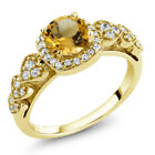 1.02 Ct Round Yellow Citrine 18K Yellow Gold Plated Silver Ring