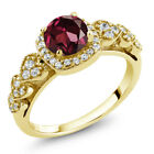 1.32 Ct Round Red Rhodolite Garnet 18K Yellow Gold Plated Silver Ring
