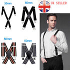 Wide Adjustable Mens Trouser Braces Suspenders X Shape Heavy Duty Metal Clip On