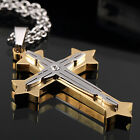 AgentX Mens Stainless Steel 4 Colours Rhinestones Cross Pendant Necklace + Bag