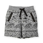 Koala Kik Boys Grey Skull and Shark Printed Drawstring Knit Shorts