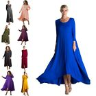Black Blue Tan Gray Olive Long Sleeve Drape Slouch Pocket Boho Women Long Dress