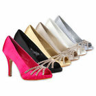 Party Damen Pumps High Heels 96991 Satin Strass Abendschuhe 36-41