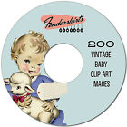 Vintage Retro 1940s 50s Baby Shower Card 200 Images Digital Clipart Clip Art CD