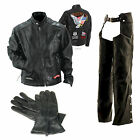Mens Real Buffalo Leather Motorcycle Scooter Jacket Chaps & Gloves w/Patches