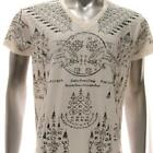 w53 M L XL Japanese Irezumi Tattoo VNECK T-shirt Hindu Amulet Bull Magic Mystic