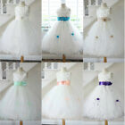 87sweetgirl Ivory coral turquoise mint green peach beige tulle flower girl dress