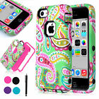 For Apple iPhone 5C Heavy Duty Hybrid Dust Shockproof Case Hard Cover w Pen Film