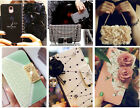 Luxury Leather Card Slot Wallet Chain Case Flowers Bling Magnetic Handbag Cover