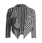 NEW LADIES PLUS SIZE BLACK WHITE STRIPED CROPPED WATERFALL BLAZER JACKET COAT