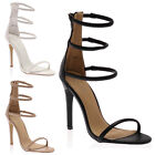 New Womens Open Toe Ladies Tube Strappy Stiletto Heeled Sandals Shoes Size 3-8