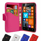 Leather Wallet Flip Case Cover FOR Nokia Lumia Models Free Screen Protector