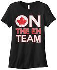 Threadrock Women's On The Eh Team T-shirt Funny Canada Canadian Flag