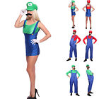Mens Womens Boys Super Mario Luigi Bros Fancy Dress Plumber Outfit Family Wear